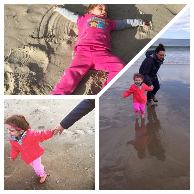 Chasing waves....making sand angels.  Great break from farm life.