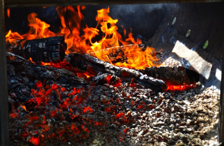 Building the bed of coals.