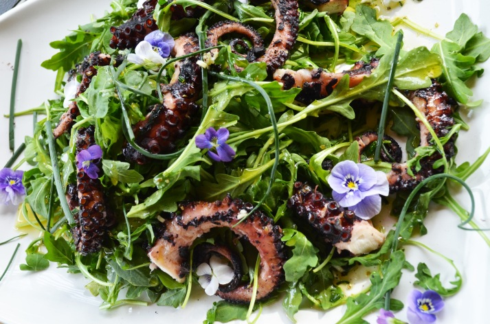 Grilled Octopus Salad plating