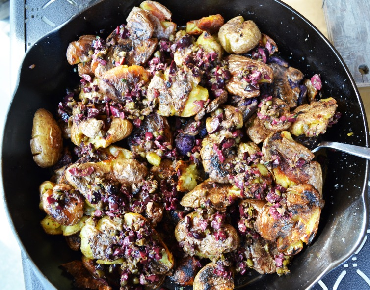Smashed Peruvian potatoes with tapenade.
